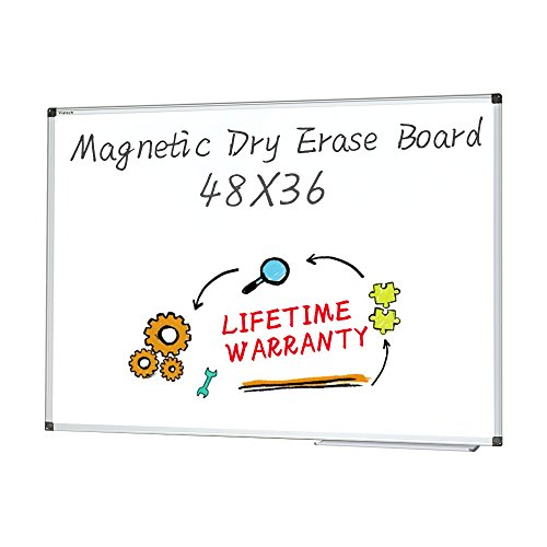 Magnetic White Board 48 x 36 Dry Erase Board Wall Mounted by maxtek