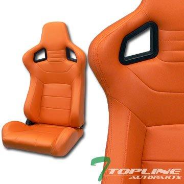 Mu Sport Orange Stitch Pvc Leather Reclinable Racing