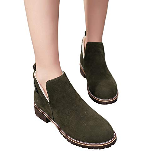 COPPEN Women Boots Vintage Round Toe Shoes Flat Hasp Suede Solid Color Booties