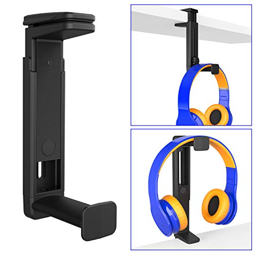 PC Gaming Headset Headphone Hook Holder Hanger Mount, Headphones Stand with Adjustable & Rotating Arm Clamp, Height Adjustable 2 in 1 Design, Universal Fit, Built in Cable Clip Organizer EURPMASK