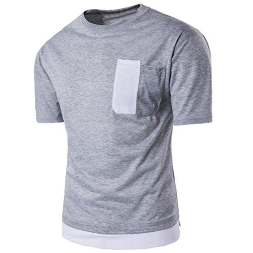 manga verano OverDose hombre camiseta Gris corta Camiseta sólido para w4YTwtS