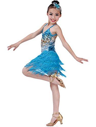 Fashion Latin Dance Costumes Girls Latin Costume Performance Dress Light Blue (Dance Costume Designer Online)