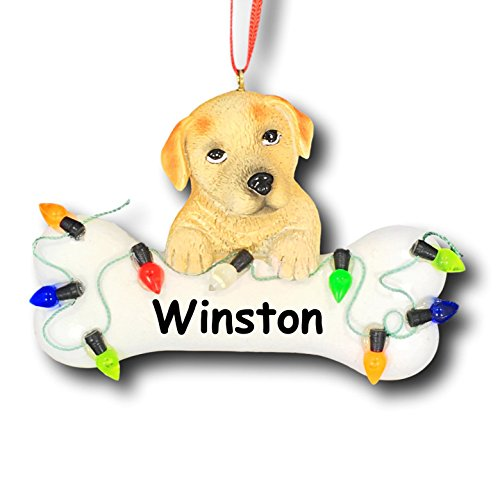 Personalized Yellow Labrador Retriever Dog And Bone With Christmas Lights Christmas Ornament - 3.75 Inches Picture