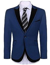 COOFANDY Men's Slim Fit One Button Suit Coat Casual Notched Lapel Solid Blazer