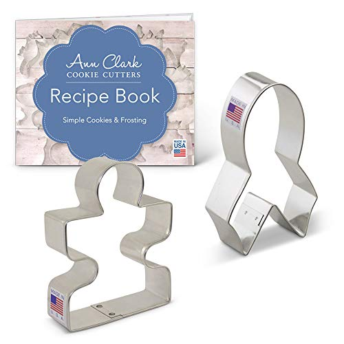Awareness Cookie Cutter Set with Recipe Booklet - 2 piece - Awareness Ribbon & Autism Puzzle Piece - Ann Clark - USA Made Steel Awareness Ribbon Cookie Cutter