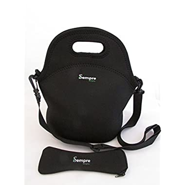 Large Classic Black Neoprene lunch bag with BONUS CUTLERY SET! Reusable washable tote, great for school office travel men women and children.