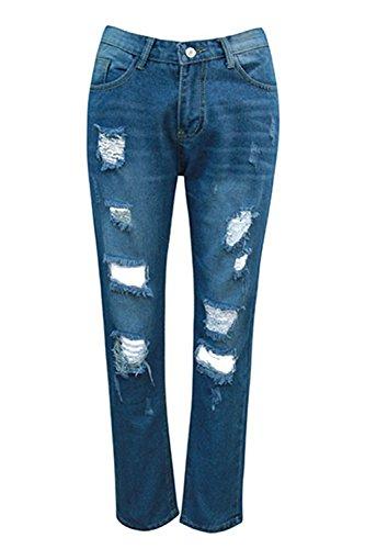 Zojuyozio Blue Trou Taille Jeans Jeans Pantalons Des Un Haute De Dchirs OrgO7wq