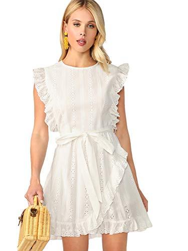 (Romwe Women's Elegant Ruffle Trim Eyelet Embroidered V Neck Wrap Short Dress White##)