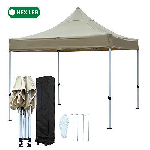 - kdgarden Premium 10'x10' Pop Up Instant Canopy Tent Commercial Grade Party Tent with Heavy Duty Strong Hexagon Steel Frame and Waterproof 420 Top, Bonus Roller Bag, Khaki