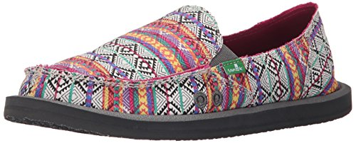 Sanuk Women's Donna Tribal Flat, Magenta/Multi Tribal Stripe, 6 M US -