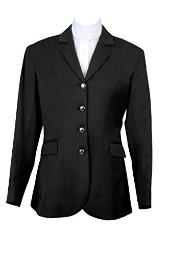 Devon-Aire Nouvelle Stretch Ladies Dressage Coat, Black, Size 22 (Stretch Riding Shirt)