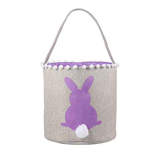 E-FirstFeeling Easter Basket Easter Bunny Bag Easter Eggs Hunt Bag Gifts/Toys Bucket Tote (Purple)