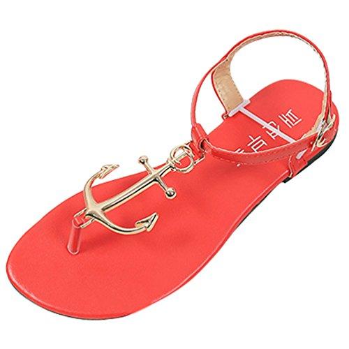 Sandali Sentao Sandali Scarpe Estate Clip Toe Donne Rosso Elegante Boemia rERxSgqE