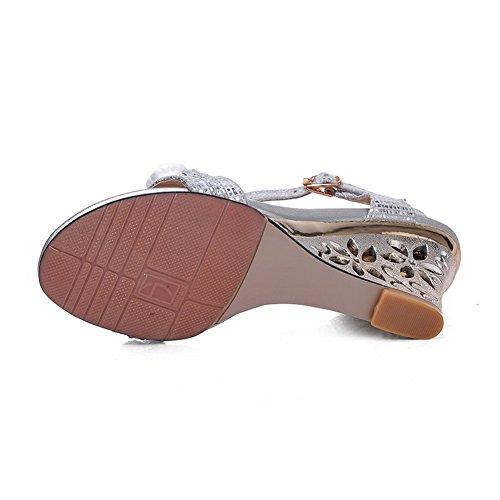 Amoonyfashion Para Mujer De Tacones Altos Hebilla Sólida Material Suave Sandalias De Punta Abierta De Plata