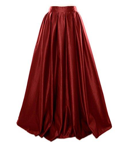 Women Evening Formal Satin Prom Skirt Dress Long Party MACloth Burgunderrot Bpwd1xqHq