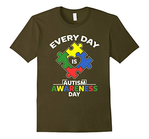 Mens Autism Awareness Day 2017 T Shirt Every Day Is Autism Awaren XL Olive
