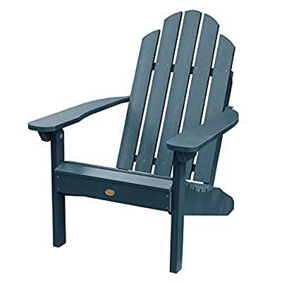 Highwood AD-CLAS1-NBE Classic Westport Adirondack Chair, 29.75W x 34.5D x 39.5H in. in, Nantucket Blue - Proudly and 100% made in the USA from our own unique synthetic wood in an environmentally-conscious Facility The most comfortable of all flat-backed Adirondack chairs The Chair has been load-tested and has a 500 pound weight capacity - patio-furniture, patio-chairs, patio - 41Hp8N vX0L. SS400  -