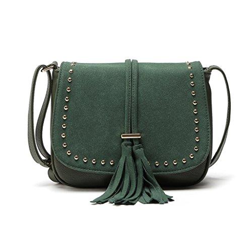 Wanfor Embroidery Boho Tassel Shoulder Bag Tote Messenger for Women Girl Dark Green