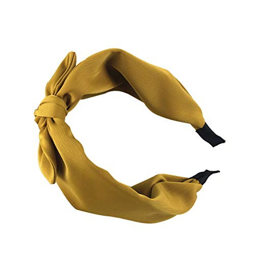YuYe Women Solid Color Bow-Knot Hair Hoop Hairband Wide Edge Headband Accessories - Yellow -