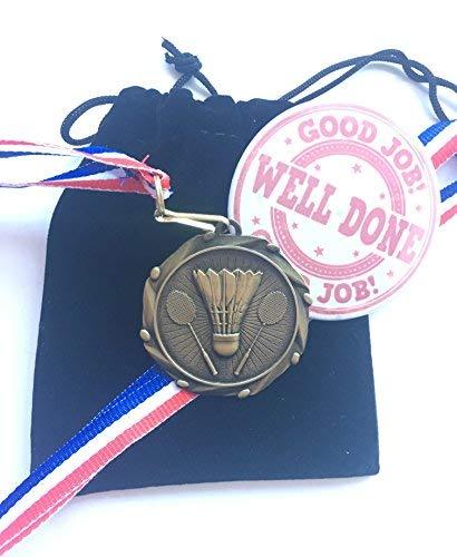 Médaille de badminton, rubans, badge et pochette de cadeau idéal pour vos amis, les écoles, etc. badge et pochette de cadeau idéal pour vos amis les écoles emblems gifts