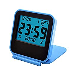 Foldable Alarm Clock Portable Ultra Slim Design Travel Tabletop Digital Alarm Clock with Temperature Calendar Date Week(Blue)