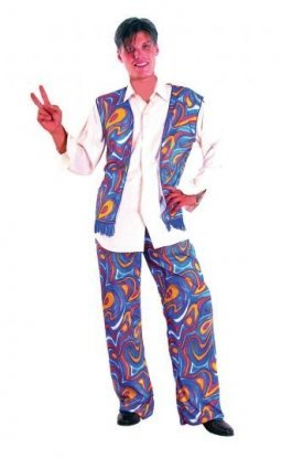 Fancy Dress Costume Hippie Mens Purple flowers 60s 70s (70s Hippie Costumes)
