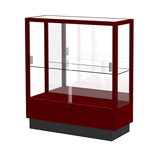 Waddell Heritage Mirror Back Countertop Display Case, 36W by 40H by 14''D, Hardwood Cordovan Finish by Waddell