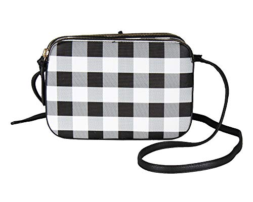Plaid Black & White Crossbody Bag w/Double Compartment, Punk 90's Handbag Purse