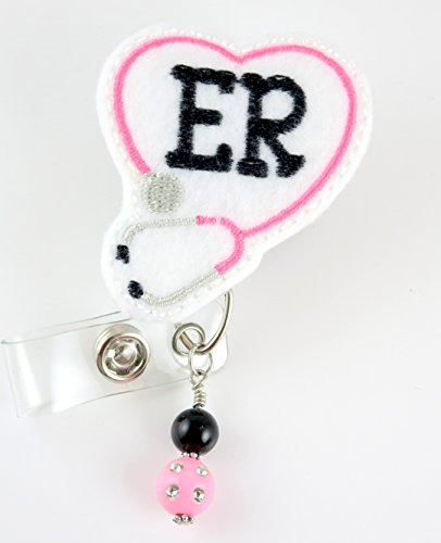 ER Heart Stethoscope with Beads - Nurse Badge Reel - Retractable ID Badge Holder - Nurse Badge - Badge Clip - Badge Reels - Pediatric - RN - Name Badge Holder