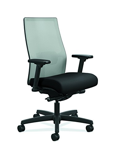 HON Ignition 2.0 Mid-Back Adjustable Lumbar Work Chair – Fog Mesh Computer Chair for Office Desk, Black Fabric