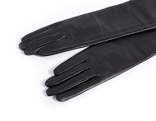 "80cm(31.5"") long plain style top quality leather opera gloves"