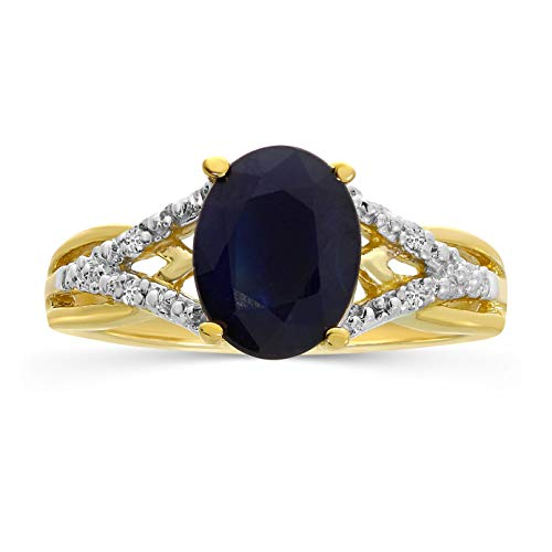 14k Yellow Gold Oval Sapphire And Diamond Ring (Size 6.5)