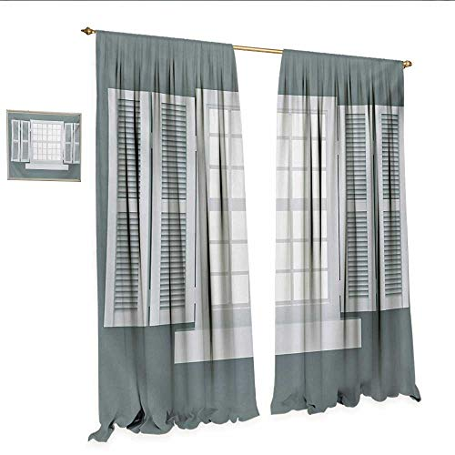 Country Drapes for Living Room Graphic Illustration of Wooden Window Shutters Traditional Style Antique Bohemian Window Curtain Drape W120 x L84 Grey White.jpg