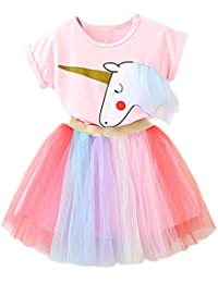 Girl Unicorn Clothing 2pcs Outfits with Pink Tops & Colorful Lace Tutu Skirts
