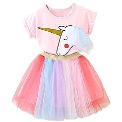 TTYAOVO Little Girls Unicorn Dress, 2pcs...