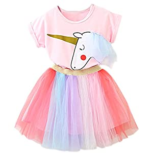 TTYAOVO Little Girls Unicorn Dress, 2pcs Unicorn Outfits with Tops Tees & Colorful Rainbow Tutu Skirts