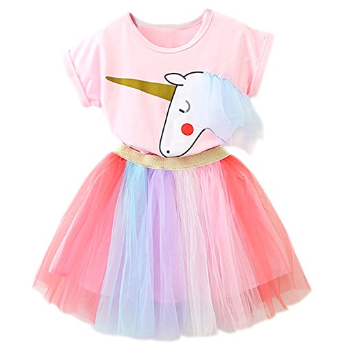 TTYAOVO Baby Girls' Unicorn Clothing Sets/Outfits with Pink Tops + Layered Rainbow Tutu Skirts Size 5-6 Years Pink by TTYAOVO