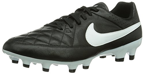 Nike Mens Tiempo Genio Leather FG Firm Ground Soccer Shoe 8 1/2 US, Black/White