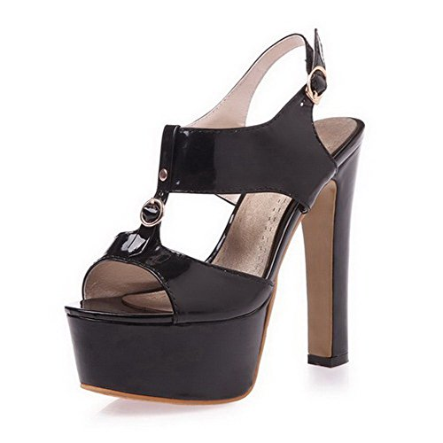 AllhqFashion Women's Buckle Open Toe High Heels PU Solid Sandals Black