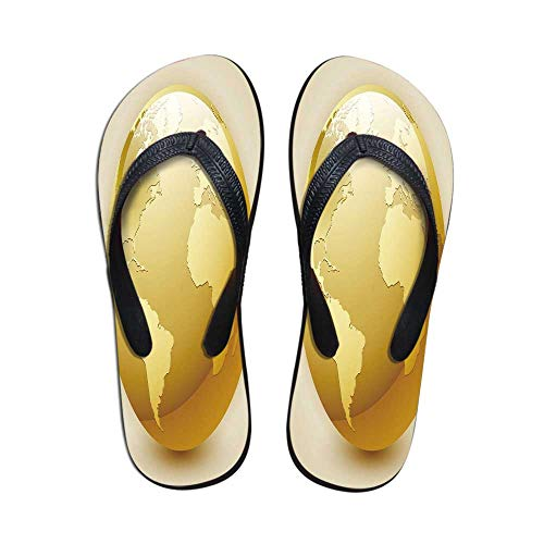 Earth Wear Resisting Flip Flops,Vivid Style Earth Icon in Yellow Color World Sphere Global International Theme Decorative for Indoor & Outdoor,US Size 10