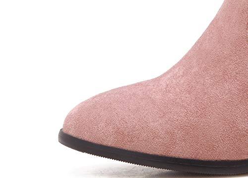 Stiefeln High den Heels Schuhe Heels in Stiefel Ferse Herbst Stiefeletten und Damen Dicke High Schuhe Winter Einzelne HCBYJ Volltonfarbe 6dOwTx6