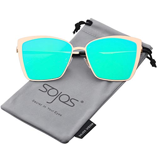 SOJOS Cateye Sunglasses for Women Fashion Mirrored Lens Metal Frame SJ1086 with Gold Frame/Green Mirrored Lens