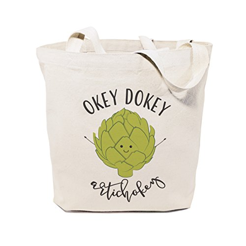 The Cotton & Canvas Co. Okey Dokey Artichokey Reusable Grocery Bag and Farmers Market Tote ()