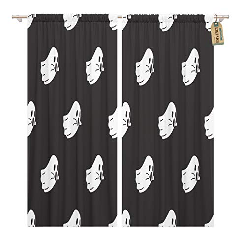 Golee Window Curtain Pattern Ghost Halloween Monster Spooky Autumn Black Cartoon Celebration Home Decor Rod Pocket Drapes 2 Panels Curtain 104 x 96 inches -