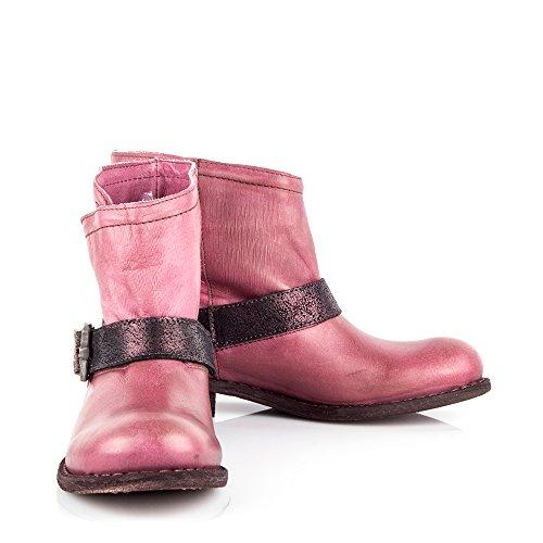 Felmini - Chaussures Femme - Tomber en amour avec King 8569 - Bottines de Cowboy & Biker - Cuir Véritable - Rose - EU: