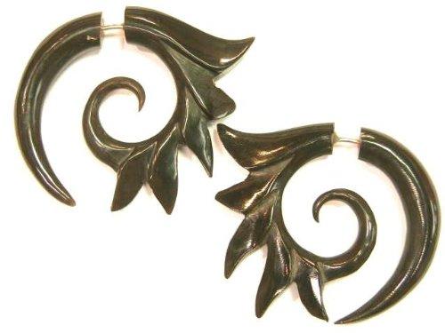 Funky Tribal Spiked Spiral Black Buffalo Horn Split Expanders Organic Earrings