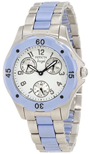 Invicta Women's 1652 Angel White Dial Blue Ceramic and Watch