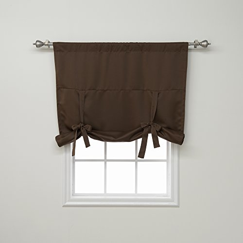 (Best Home Fashion Thermal Insulated Blackout Tie-Up Window Shade - Rod Pocket - Chocolate - 42