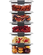 Rubbermaid 2108398 Leak-Proof Brilliance Food Storage Containers, BPA-free Plastic, 1.3 Cup, 5-Pack, Clear