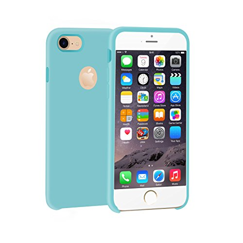 Apple Iphone Silicone Skin Case (iPhone 8 Case,iPhone 7 Silicone Case Slim Fit Cover Skin Feeling Gel Rubber Silicone Shockproof Full Body Protective Case Cover W/Microfiber Cloth Lining Cushion for Apple iPhone 7/iPhone8 Light Green)